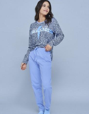 Pijama en jersey remera manga larga estampada y pantalon liso TS/L MARCELA KOURY