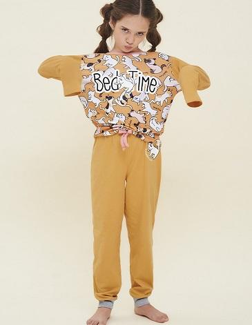 Pijama en jersey para nena remera manga larga estampada y pantalon con puños T4/12 MARCELA KOURY