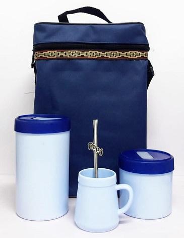 Bolso Matero Tela Azul + Tarros ( Yerbero y Azucarero) + Mate + Bombilla Aluminio TRENDY