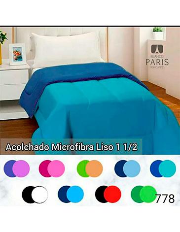 Acolchado microfibra reversible liso 1- 1/2 PL BLANCO PARIS